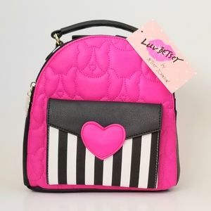 Betsy Johnson Backpack Hot Pink Heart & Puppies